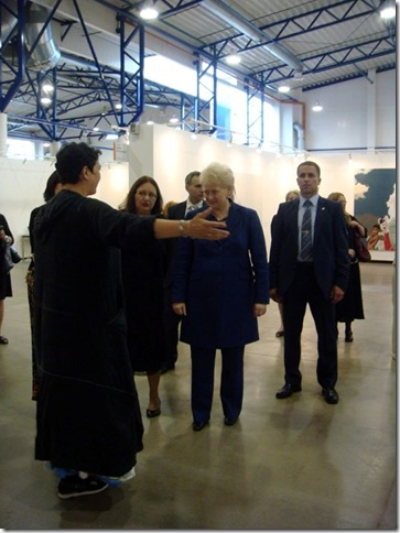 President of Lithuania Dalia Grybauskaite is visiting Frants Gallery stand